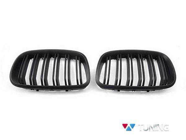 Решётка радиатора BMW X5 E70 / X6 E71 - М стиль чёрная матовая - фото #2