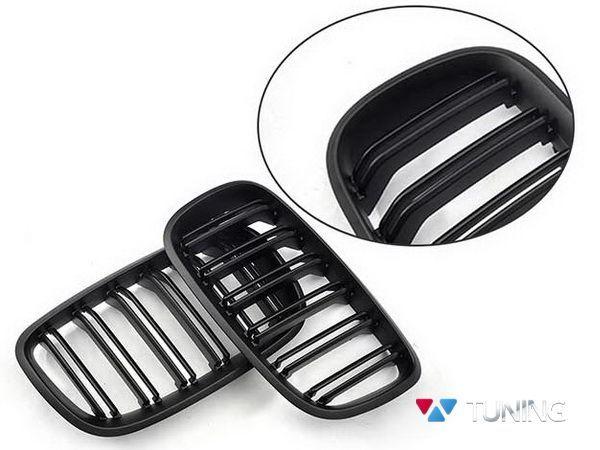 Решётка радиатора BMW X5 E70 / X6 E71 - М стиль чёрная матовая - фото #3