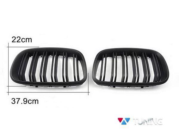 Решётка радиатора BMW X5 E70 / X6 E71 - М стиль чёрная матовая - фото #4