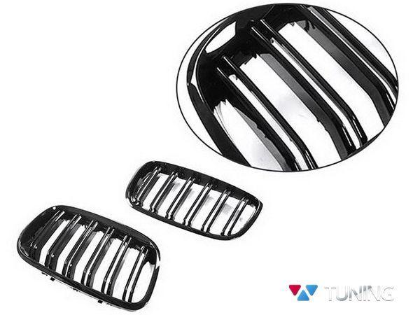 Ноздри BMW X5 E70 / X6 E71 - М стиль чёрные глянцевые - фото #3