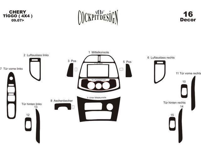 Накладки торпедо (большой комплект) CHERY Tiggo (2006-2013)
