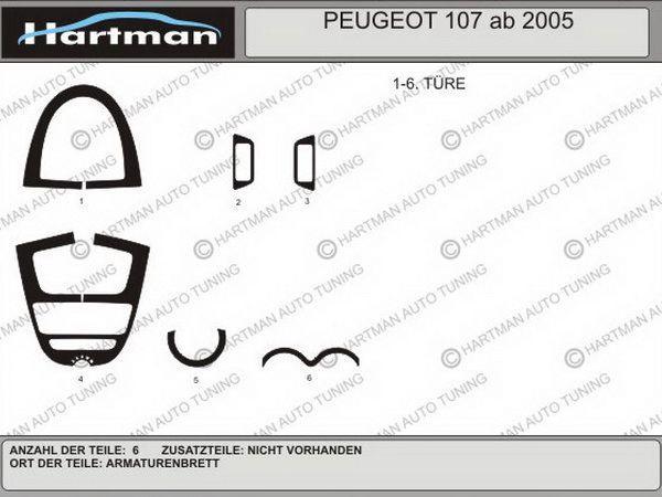 Накладки на торпедо PEUGEOT 107 (2005-) схема