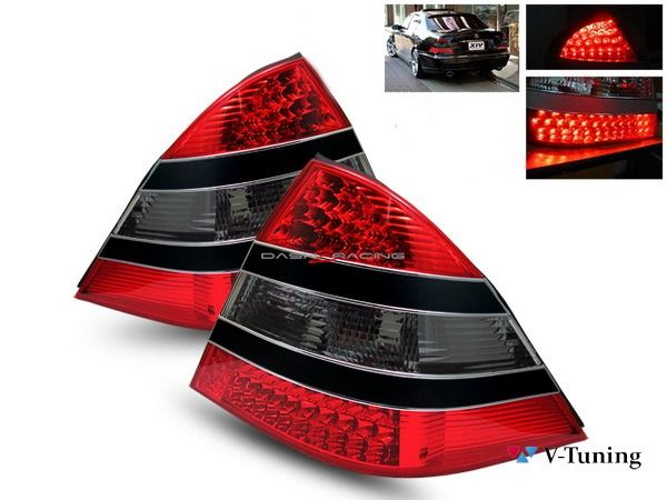 Фонари задние MERCEDES S W220 - стиль W221 - красно-чёрные 1