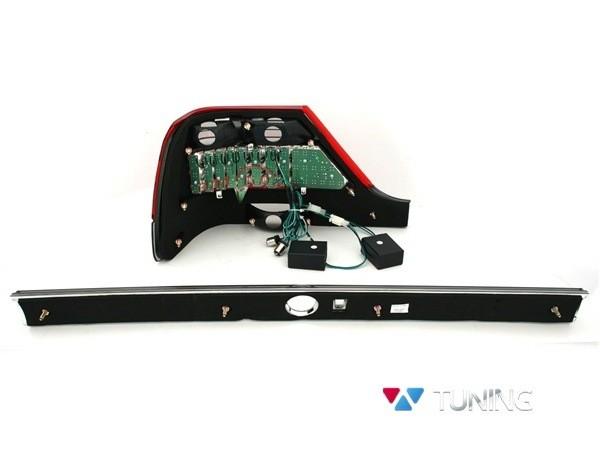 Фонари задние MERCEDES W140 - диодные красно-дымчатые - вид сзади