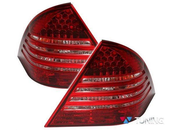 Фонари задние MERCEDES W203 Sedan - диодные красно-белые 2