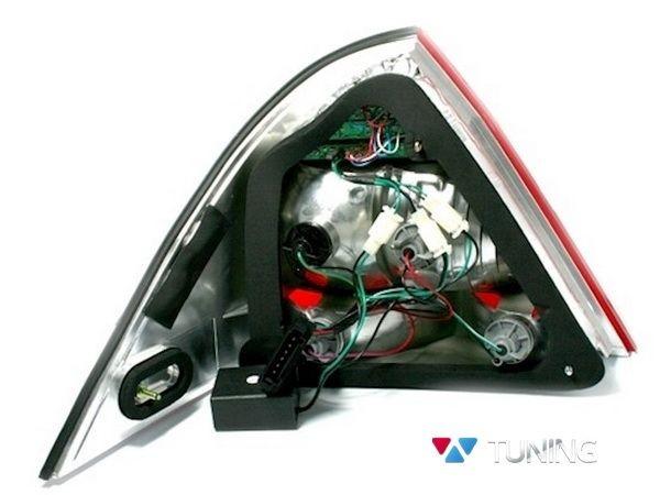 Фонари задние MERCEDES W203 Sedan - диодные красно-белые - вид сзади