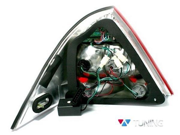 Фонари задние MERCEDES W203 Sedan - диодные красно-дымчатые - вид сзади