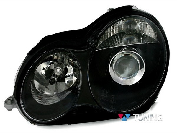 Фары передние MERCEDES W203 (2000-2004) - чёрные линзовые 2