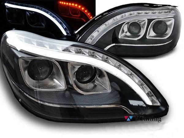 Фары передние MERCEDES S W220 - линзовые (Hi-Low) чёрные 1