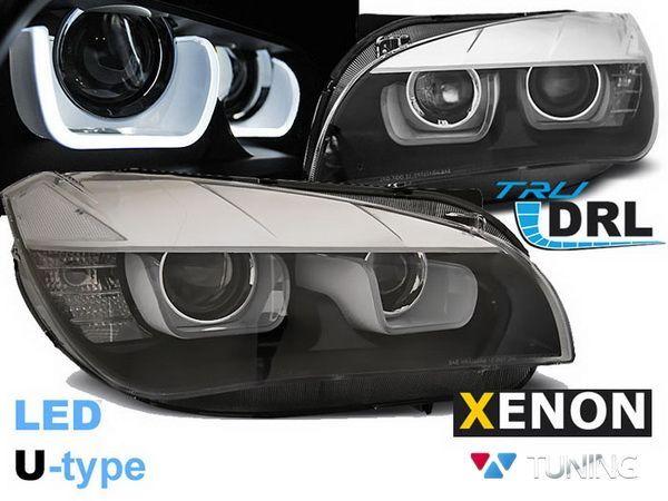 Фары чёрные BMW X1 E84 (12-15) - DRL LED U-Type ксенон
