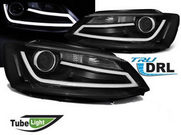 Фары чёрные VW Jetta A6 (2011-) диодные трубки