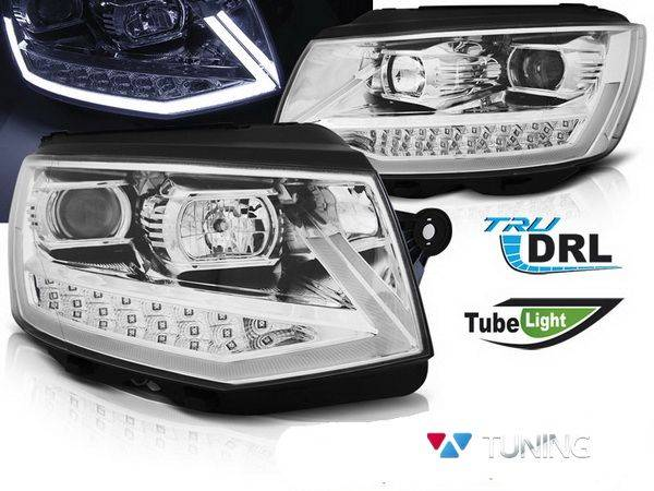 Фары VW T6 (2015-) - хром TUBE LIGHT LED DRL
