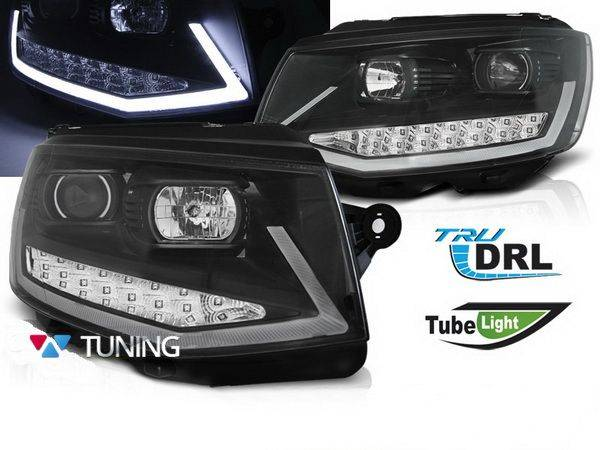 Фары VW T6 (2015-) - чёрные TUBE LIGHT LED DRL