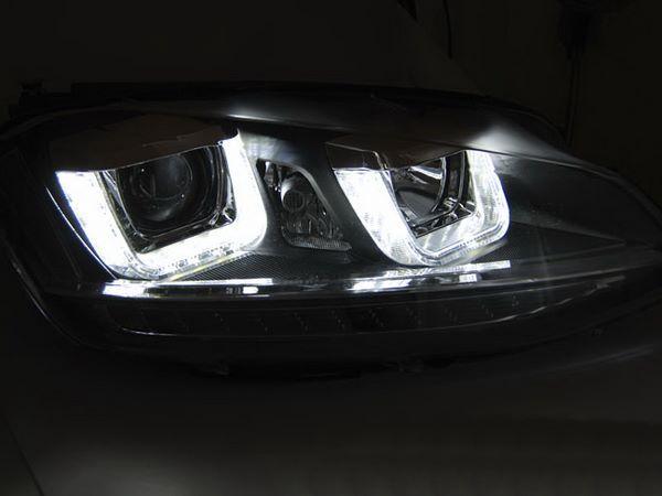 Фары VW Golf 7 (2012+) - U-тип DRL чёрные LED-повороты 2