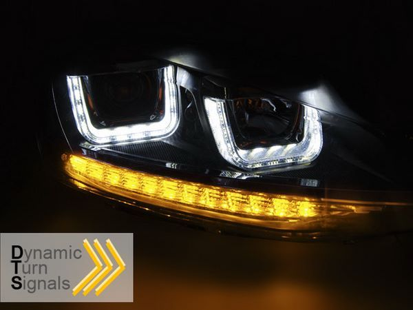 Фары VW Golf 7 (2012+) - U-тип DRL чёрные LED-повороты 3