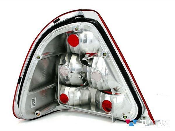 Фонари задние MERCEDES W202 Sedan - красно-белые - вид сзади