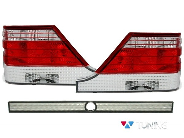 Фонари задние MERCEDES S W140 - ламповые красно-белые 1