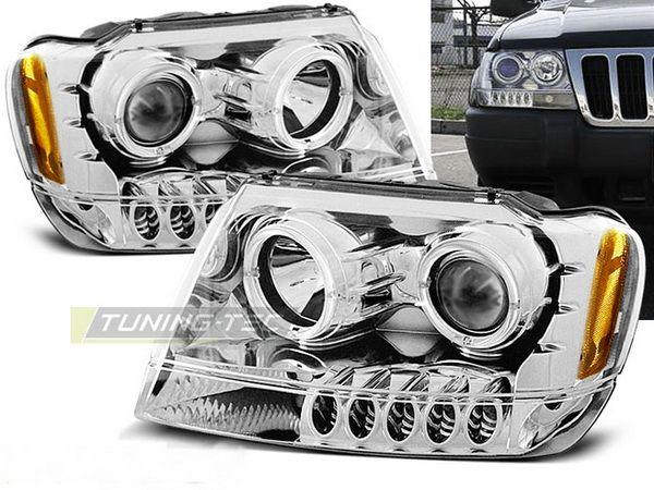 Фары JEEP Grand Cherokee WJ (99-04) CCFL CHROME
